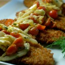 Lightened Up Wiener Schnitzel with Tomato & Fennel Salad